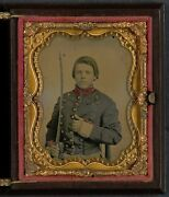 Photo Civil War Confederate Young Soldier In Uniform With Saber Sword