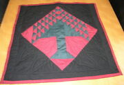 Vintage Hand Stitched Christmas Green Red Black Tree Bells Quilt Hanging 23x23