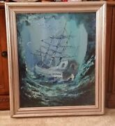 Antique 1920s Shipwrecked Gallon Painting On Canvas By Pavan In Frame