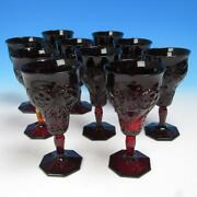 Vintage Mckee Red Rock Crystal Glass - 10 Tall Footed Wine Or Water Goblets