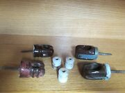 Lot Of Vintage Brown And White Porcelain Power Line Insulators