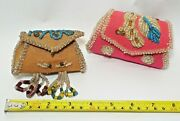 2 Small Old Antique Native American Indian Beaded Purses Clutch Coin Purses
