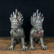 5.9 Antique Old Chinese Bronze Handcarved A Pair Kylin Statue