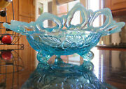 Northwood Signed Blue Opalescent Shell And Wild Rose Bowl3 Sides Upc1906