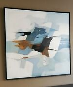 Mid-century Modern Abstract Robert Lawson Signed Oil Painting Blue Fantasy