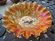 Good Luck Marigold Ribbed Back Pie Crust Edge Bowl By Northwood C.1908
