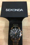 Sekonda Menand039s 36.1mm Black And Rose Gold Plated Chronograph Analogue Watch