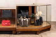Victorian L Shaped Glass Counter Shop Display Cabinet Brass Bound Haberdashery