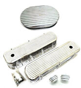 Bbc Chevy Polished Aluminum Finned Valve Covers + Breather Pcv And 12 Air Cleaner