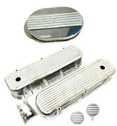 Chevy Polished Aluminum Finned Valve Covers + 12 Air Cleaner And Breather Pcv Bbc