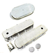 Chevy Polished Aluminum Finned Valve Covers + Breather Pcv And 15 Air Cleaner Bbc