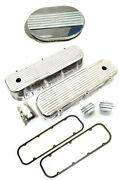 Bbc Chevy Polished Alum Finned Valve Covers Gasket 12 Air Cleaner Breather Pcv