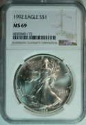10 1992 American Eagle Dollars / .999 Pure Silver / Ngc Ms69