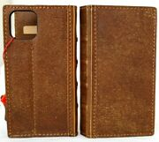 Genuine Leather Case For Apple Iphone 12 Wallet Vintage Bible Cover Book Tan