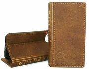 Genuine Leather Case For Apple Iphone 12 Pro Wallet Vintage Bible Cover Book Tan