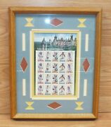 American Indian Dances Full Sheet Stamp Collection In Wood Frame Read