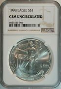 10 1998 American Silver Eagle Dollars / Ngc Gem Bu / Certified / Authenticated