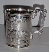 Rare Early Gorham Co. Scenic Repousse Coin Silver Christening Cup- Oct.10 1857