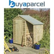 Rowlinson 4x3 Oxford Shed Wooden Garden Shed Storage And Wood Log Store Lean To