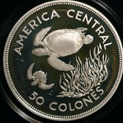 Costa Rica 50 Colones 1974 Conservation Series Turtle 25gsilver Proof T11