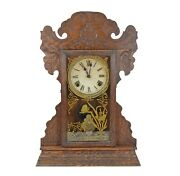 Antique Sessions Oak Kitchen Shelf Mantel Clock Oiled And Runs Well.