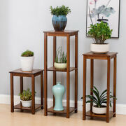 Vintage Carving Bamboo Plant Stand Pots Holder Side Table End Table Furniture Us