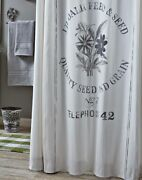 New Shabby Chic Cottage Farmhouse White Vintage Feed Seed Sack Shower Curtain