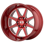 22x12 Xd Wheels Xd844 Pike 8x165.10 Brushed Red W Milled Accents -44 S44