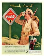 1942 Ww2 Beverage Ad For Coca Cola Art And039howdy Friendand039 Soldier And Coke Sign 101220