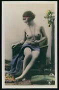 French Nude Woman Seated On Sofa Original 1910-1920s Tinted Color Photo Postcard