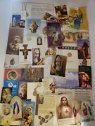Lot Of Religious Holy Cards Bookmarks Coins Jewelry Catholic Church Spiritual
