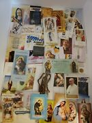 Lot Of Religious Rosary Beads Holy Cards Bookmarks Catholic Church Spiritual