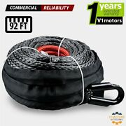 22000 Lb Synthetic Winch Rope 1/2 X 92ft Atv Utv Tow Truck Recovery Cable Black