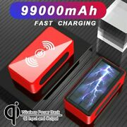 99000mah Solar Power Bank Waterproof 4 Usb Led Wireless Battery Charger For Gift