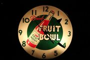 1950and039s Drink Fruit Bowl Soda Round Glass Light Up American Time Corp Clock