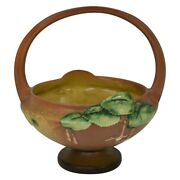 Roseville Pottery Fuchsia Brown Basket With Attached Flower Frog 350-8