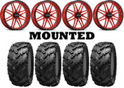 Kit 4 Interco Reptile Tires 30x10-20 On Raceline A11r Krank Xl Red Wheels Can