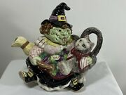 Fitz And Floyd Halloween Teapot Witch Broom Cat 37 Oz Figural 1992 Ceramic