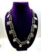 Vtg Antique Russian Imperial 1825-90 Silver 10 And 15 Kopeika Coins Link Necklace