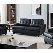 Molina 74.5 Oversized Flared Arm Sofa Couch Upholstered Faux Leather Trans...
