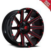 22x10 Fuel Wheels D643 Contra Gloss Black W Red Milled Off Road Rimss45