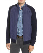 Peter Millar Menand039s Navy Crown Elite Light Quilted Mixed Media Jacket 295