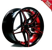 20 Staggered Ac Wheels Ac01 Gloss Black Red Inner Extreme Concave Rims S95