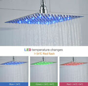 Led Shower Head Chrome 10 Inch Square Rainfall Sprayer Faucet Stainless Steel