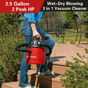 Vacmaster 2.5 Gallon Portable Car Vacuum Cleaner Wall Mount Wet Dry Shop Vac