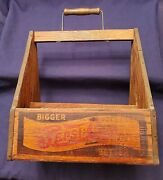 Vintage Pepsi-cola Double Dot Logo 6-pack Bottle Wood Carrier Circa 1940and039s