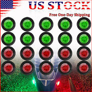 20x Round Marine Boat Bow Led Navigation Lights Red Green Stern Starboard Light