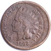 1866 Indian Head Cent Penny Off-center Choice Vg Free Shipping E652 Tlm