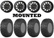 Kit 4 Itp Terra Claw Tires 27x9-14 On System 3 St-5 Matte Black Wheels Can