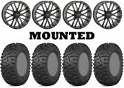 Kit 4 Itp Terra Claw Tires 27x9-14 On System 3 St-3 Matte Black Wheels Irs